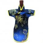 Qipao Wine Bottle Cover Chinese Woman Attire Blue Longevity