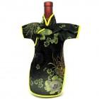 Qipao Wine Bottle Cover Chinese Woman Attire Black Longevity