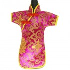 Qipao Wine Bottle Cover Chinese Woman Attire Pink Fortune Cloud