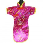Qipao Wine Bottle Cover Chinese Woman Attire Hot Pink Floral