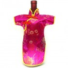 Qipao Wine Bottle Cover Chinese Woman Attire Hot Pink Longevity