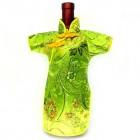 Qipao Wine Bottle Cover Chinese Woman Attire Lite Green Vine