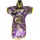 Qipao Wine Bottle Cover Chinese Woman Attire Lavender Vine