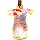 Qipao Wine Bottle Cover Chinese Woman Attire Pink Floral
