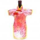 Qipao Wine Bottle Cover Chinese Woman Attire Pink Longevity